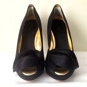"Ted Baker Shoes - Ted Baker ""Naidaa"" Black Satin Platform Heels"